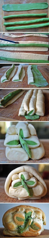 Shamrock Bread Art  - Steps